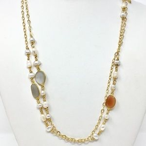 Amber/Grey Agate & Pearl Long Gold Chain Necklace